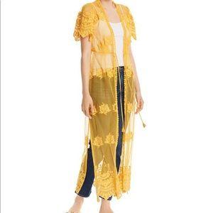 AQUA Yellow Sheer Floral Lace Maxi Duster XS